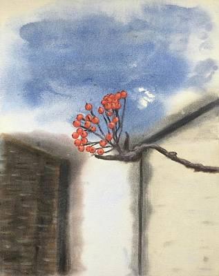 Painting - Winter Rowan Berries by Tamara Savchenko