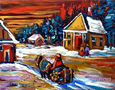 Painting - Winter Rural Landscape Caleche Ride Quebec Village Scene Canadian Painting Carole Spandau by Carole Spandau