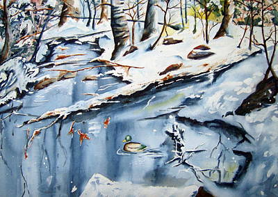 Wood Duck Painting - Winter Sanctuary by Brian Degnon