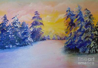 Art Print featuring the painting Winter by Saundra Johnson