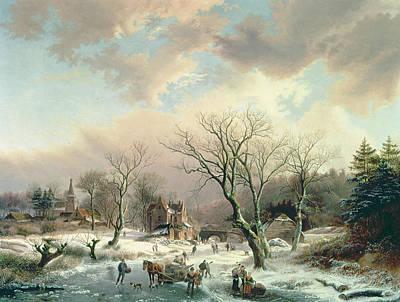Snow Scene Painting - Winter Scene   by Johannes Petrus van Velzen