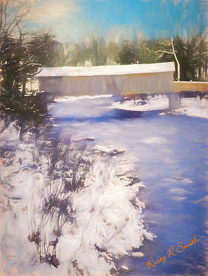 Digital Art - Winter Scene Comstock Covered Bridge Connecticut by Rusty R Smith