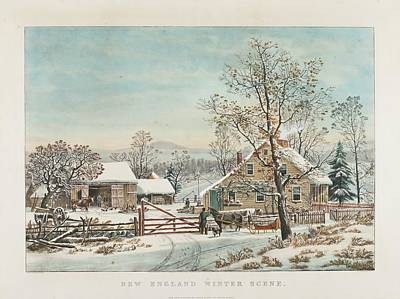 New England Winter Scene Painting - Winter Scene by Currier