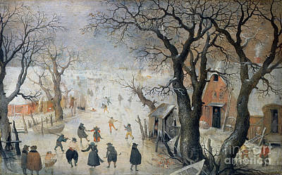 Ice Hockey Painting - Winter Scene by Hendrik Avercamp