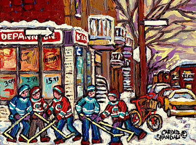 Winter Scene Hockey Painting Verdun Depanneur Kik Cola Bicycle Montreal Canadian Art Carole Spandau  Art Print