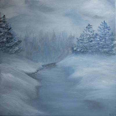 Painting - Winter Scene In Blue.  by Kara Evelyn-McNeil