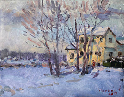 Snow Scene Wall Art - Painting - Winter Scene In Tonawanda  by Ylli Haruni