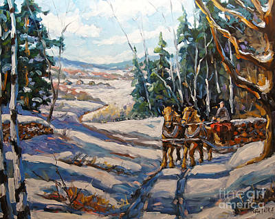Winter Scenes Painting - Winter Scene Loggers Horses By Prankearts by Richard T Pranke
