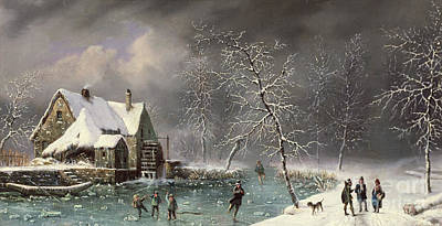 Skating Painting - Winter Scene by Louis Claude Mallebranche