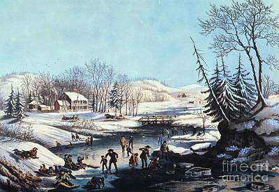 Photograph - Winter Scene: Morning 1854 by Granger