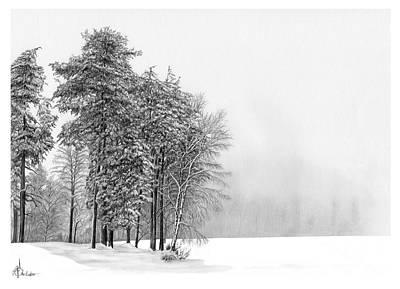 Drawing - Winter Scene by Murphy Elliott