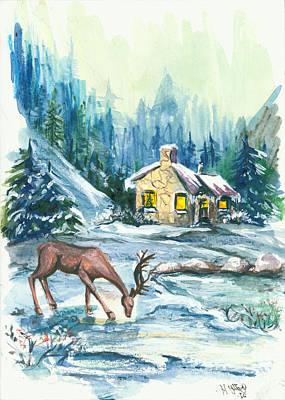 Peaceful Scene Painting - Winter Scene No.1 by Elisabeta Hermann