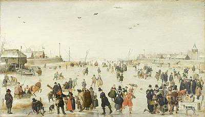 Painting - Winter Scene On A Frozen Canal by Celestial Images