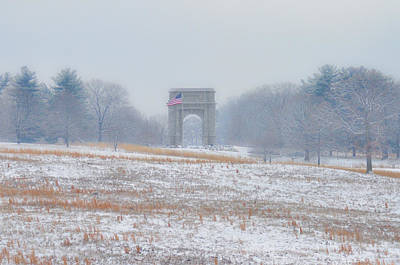 Winter Scene - Valley Forge Arch Print by Bill Cannon