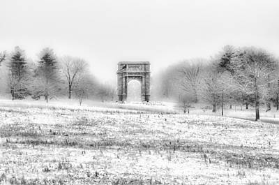 Park Scene Digital Art - Winter Scene - Valley Forge Arch In Black And White by Bill Cannon