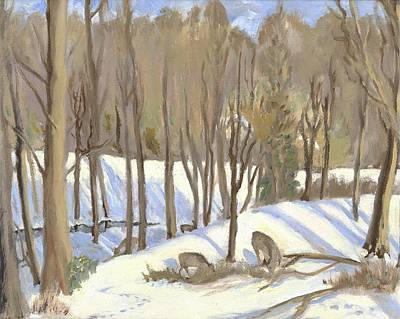 Wall Art - Painting - Winter Scene With Deer by Katherine Farrell