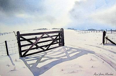Snow Scene Landscape Painting - Winter Scene With Gate by Paul Dene Marlor