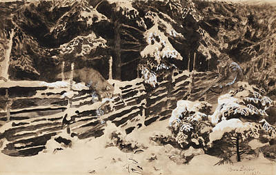 Fox Drawing - Winter Scene With Hunter And Fox By Fence by Bruno Liljefors