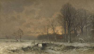 Painting - Winter Scene With The Sun Setting Behind Trees, Louis Apol, 1880 - 1930 by Celestial Images