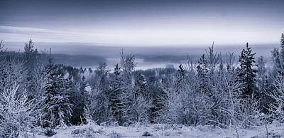 Photograph - Winter Scenery Of The Lake Hiidenvesi Bw by Ismo Raisanen