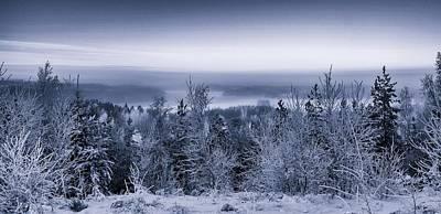 Photograph - Winter Scenery Of The Lake Hiidenvesi Bw by Ismo Raisanen