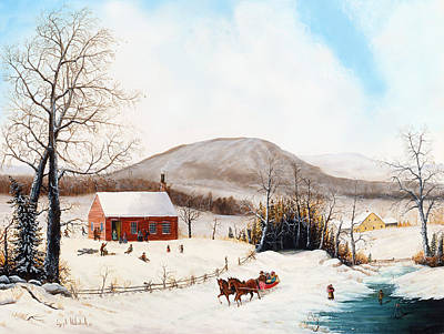 Americana Licensing Painting - Winter School Days by Joseph Holodook