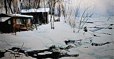 New England Winter Scene Painting - Winter Serenity by Hanne Lore Koehler