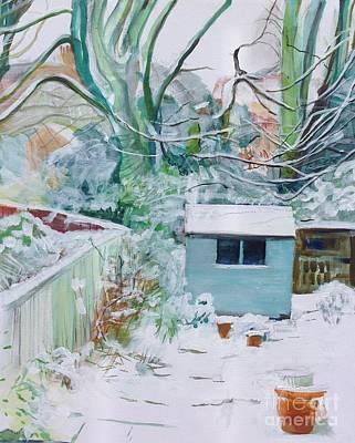 Winter Shed Original by Sandra Haney