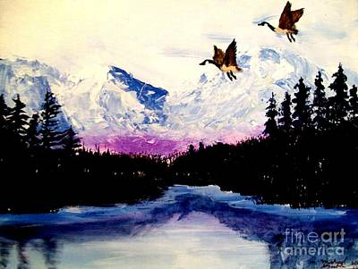 Snow Geese Painting - Winter Silence by Michael Grubb