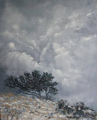 Windblown Painting - Winter Skies by Susan Gutting