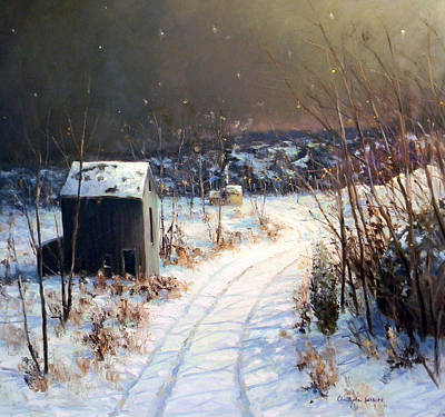 Redfield Painting - Winter Sleep North On River Road Bucks County by Christopher Willett
