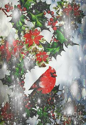 Digital Art - Winter Snow Cardinal by Maria Urso