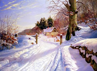 Snow Art Mixed Media - Winter Snow Glow by Georgiana Romanovna