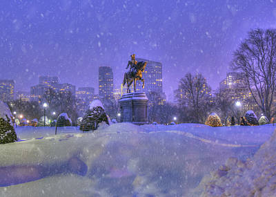 Politicians Royalty-Free and Rights-Managed Images - Winter Snow in Boston Public Garden by Joann Vitali