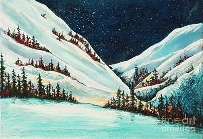 Painting - Winter Snow Scene In Mountains by Pati Pelz