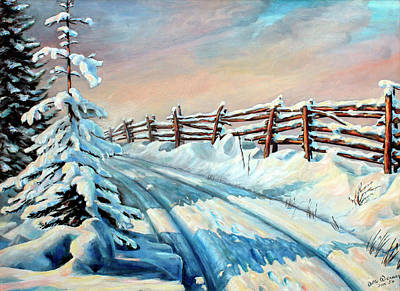Snow Scene Landscape Painting - Winter Snow Tracks by Hanne Lore Koehler