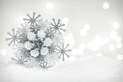 Photograph - Winter Snowflake Decoration On Glitter Background. by Michal Bednarek