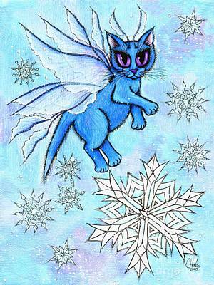 Art Print featuring the painting Winter Snowflake Fairy Cat by Carrie Hawks