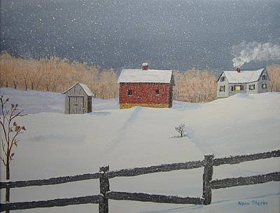 Snowscape Painting - Winter Snowstorm by Norm Starks