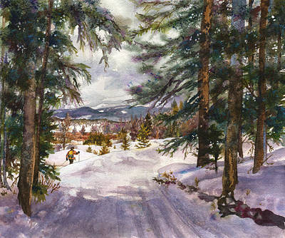 Pine Trees Painting - Winter Solace by Anne Gifford