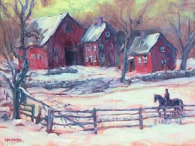 New England Snow Scene Painting - Winter Solitude by Ken Fiery
