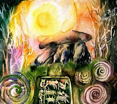 Neolithic Painting - Winter Solstice , Ancient Stones Of Ireland   by Trudi Doyle