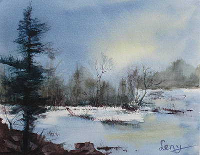 Northwoods Painting - Winter Solstice by Leny Wendel