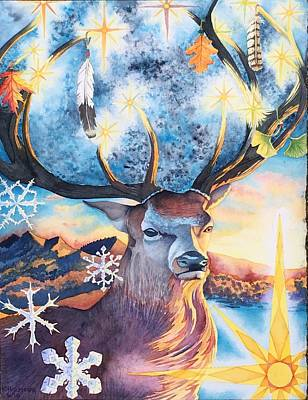 Painting - Winter Solstice Stag by Kristen Holmberg