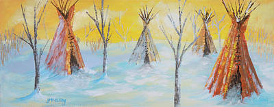 Landmarks Painting Royalty Free Images - Winter Song Royalty-Free Image by Jerry McElroy