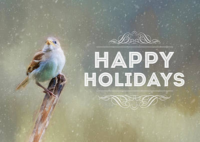 Photograph - Winter Sparrow Holiday Card by Cathy Kovarik