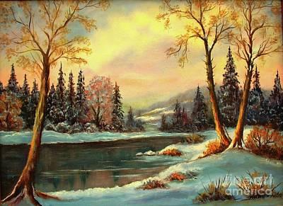 Mountain Sunset Painting - Winter Splendor by Hazel Holland
