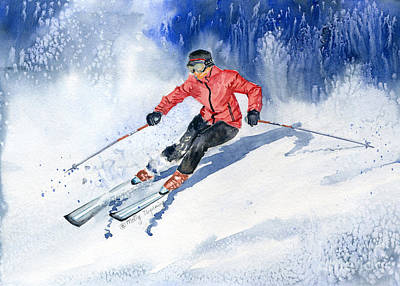 Skiing Action Painting - Winter Sport by Melly Terpening