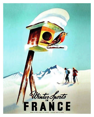 Ski House Wall Art - Painting - Winter Sports In France, Travel Poster by Long Shot