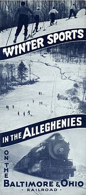 Photograph - Winter Sports In The Alleghenies by Baltimore and Ohio Railroad